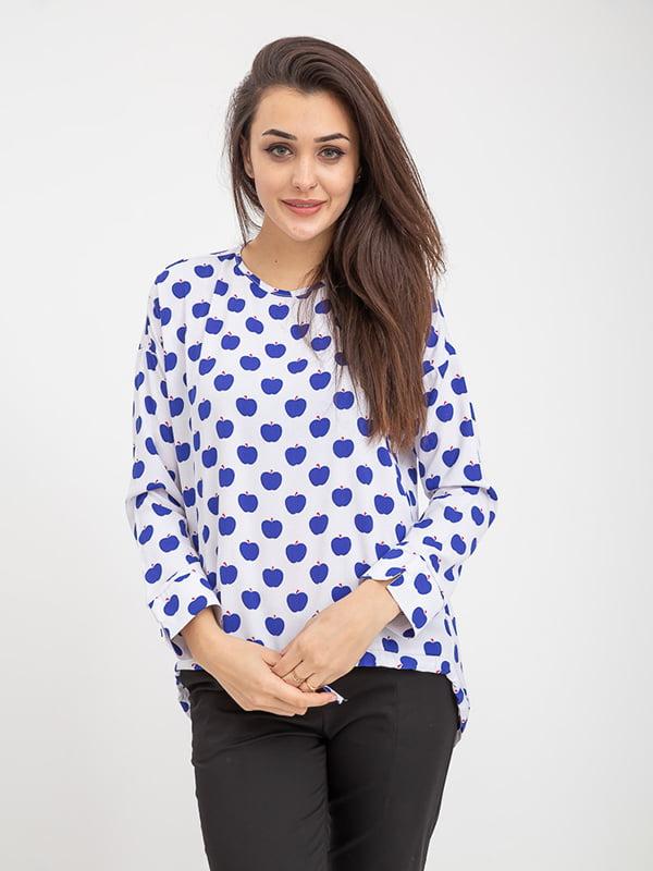 Блуза бело-синяя в принт   5374667