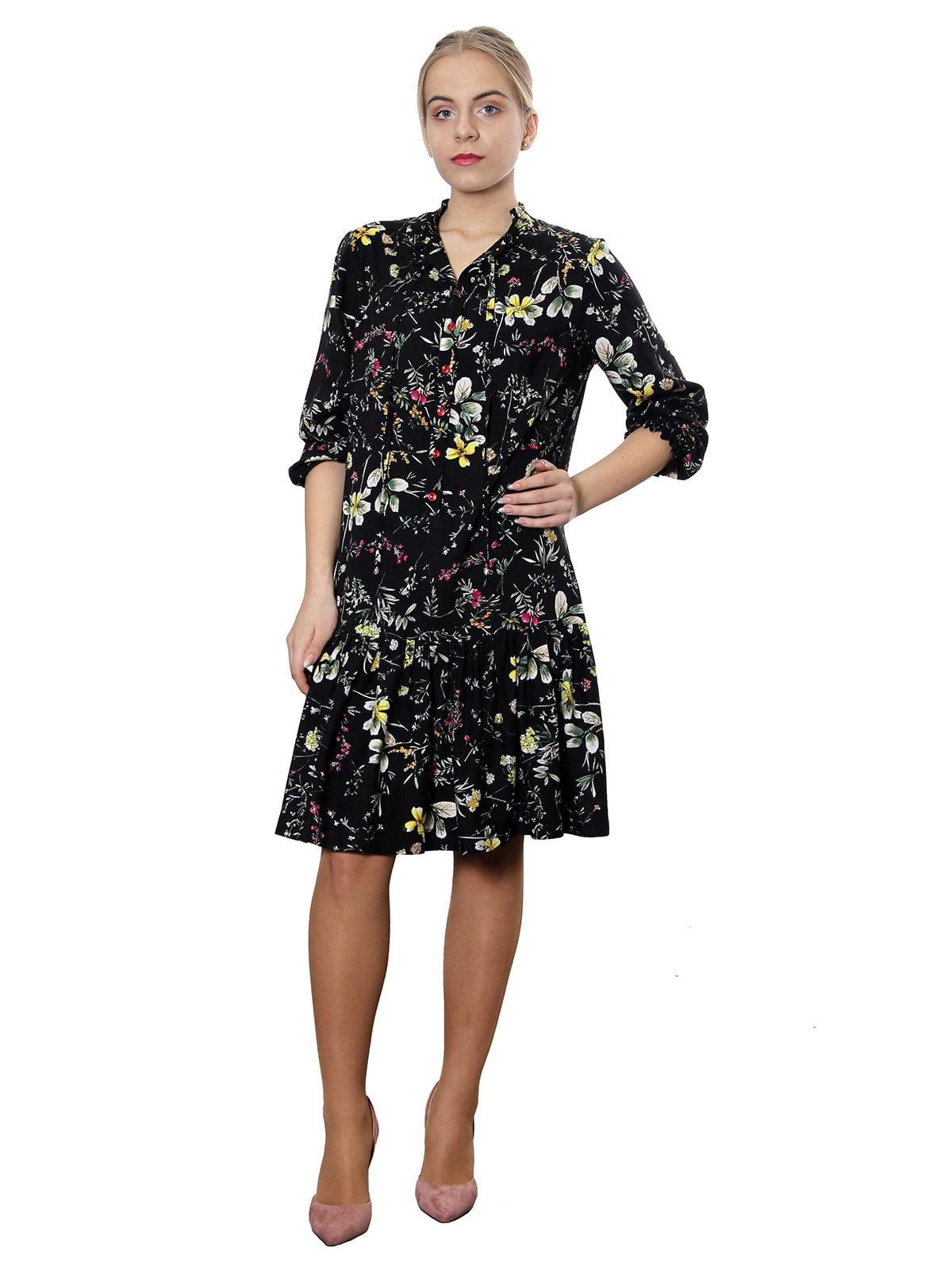 Платье черное в цветочный принт | 5379586