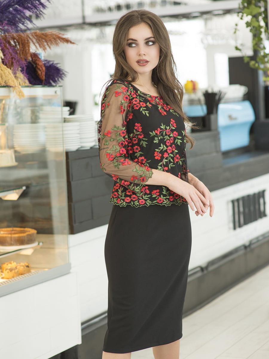 Сукня чорна з квітковою вишивкою   5379873