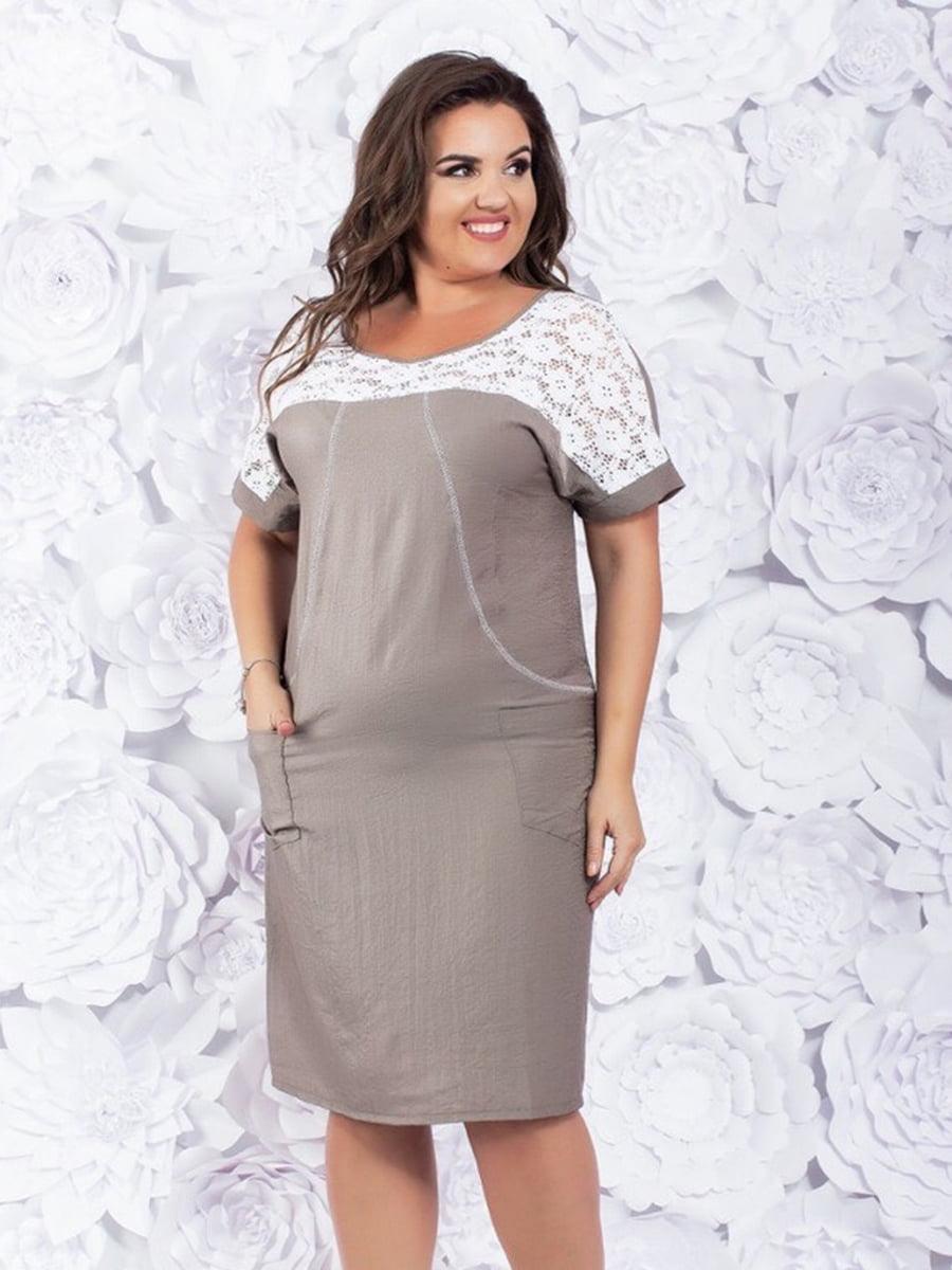 Платье бело-бежевое | 5383847