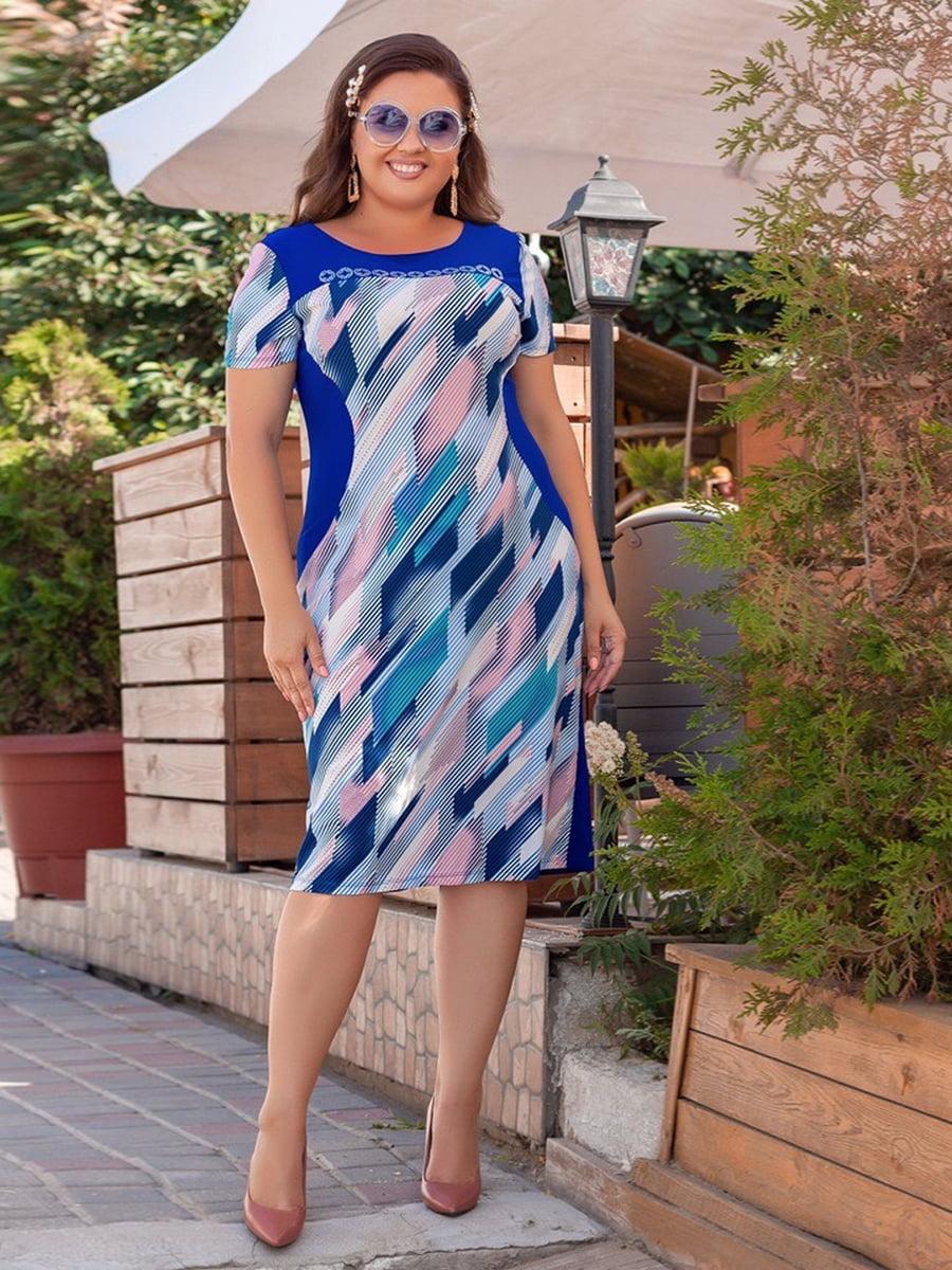 Сукня синя з абстрактним принтом   5383888