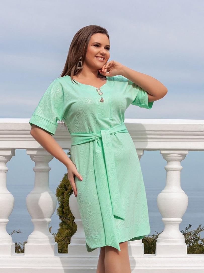 Сукня м'ятного кольору з декором | 5383890