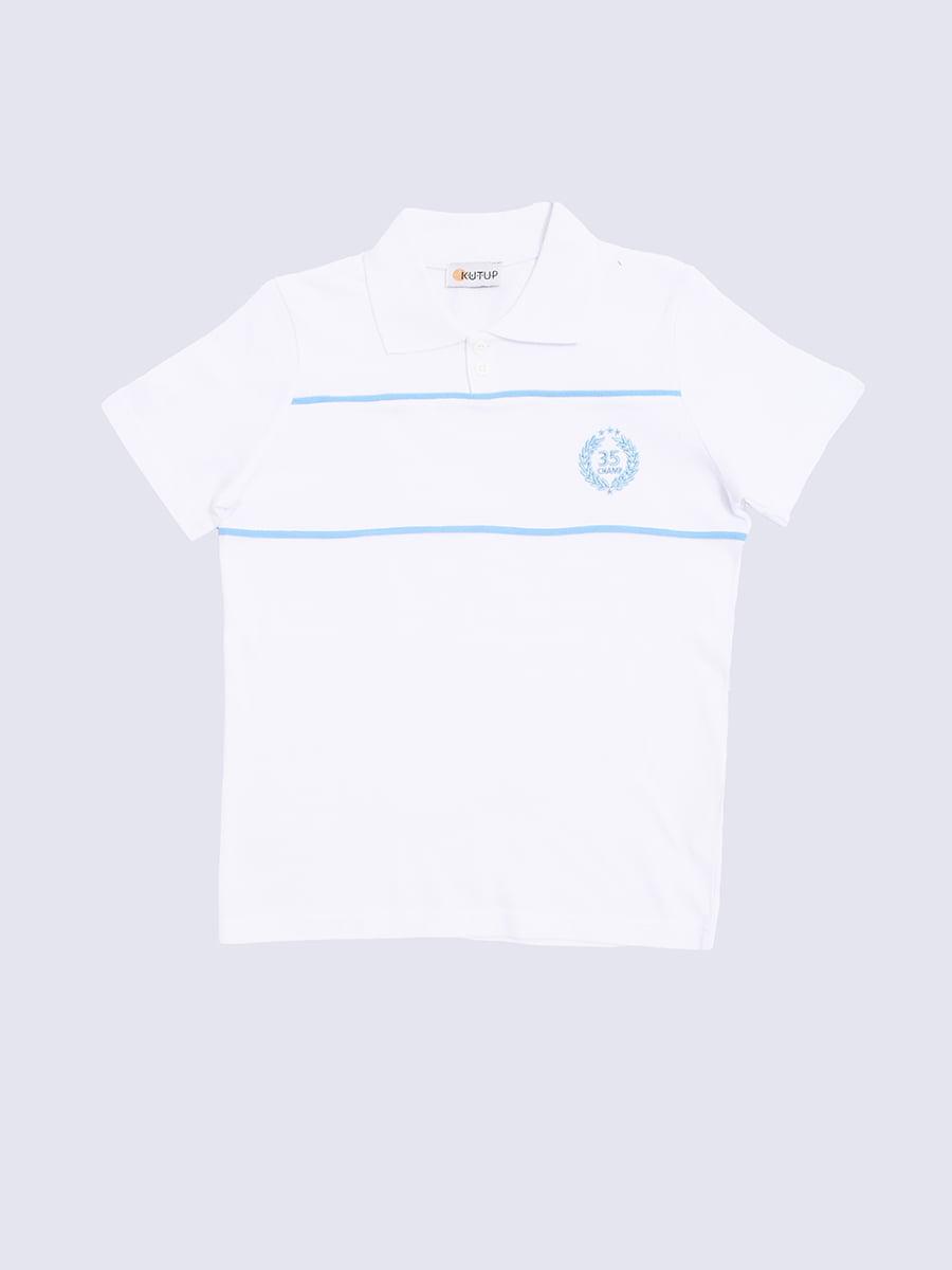 Футболка-поло біла з принтом | 5387373