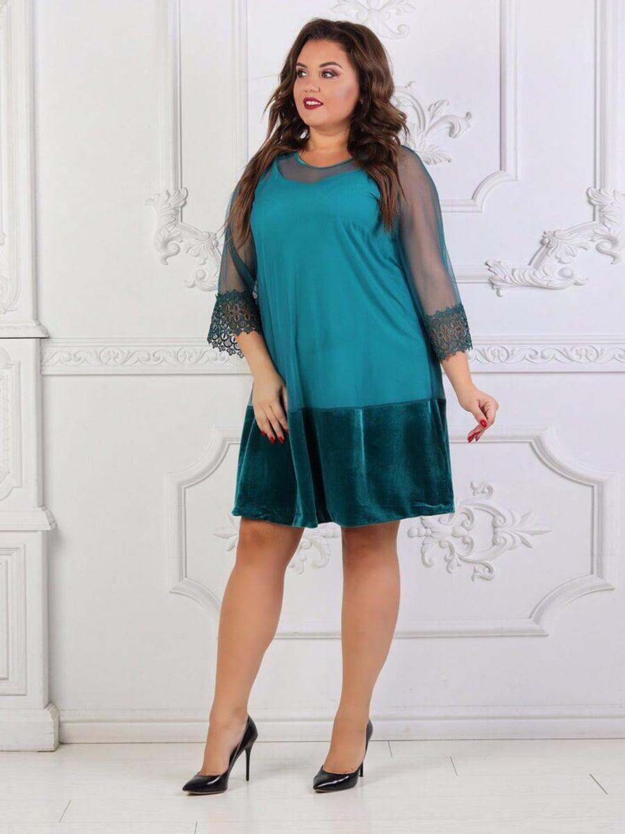 Платье цвета морской волны с декором | 5394946