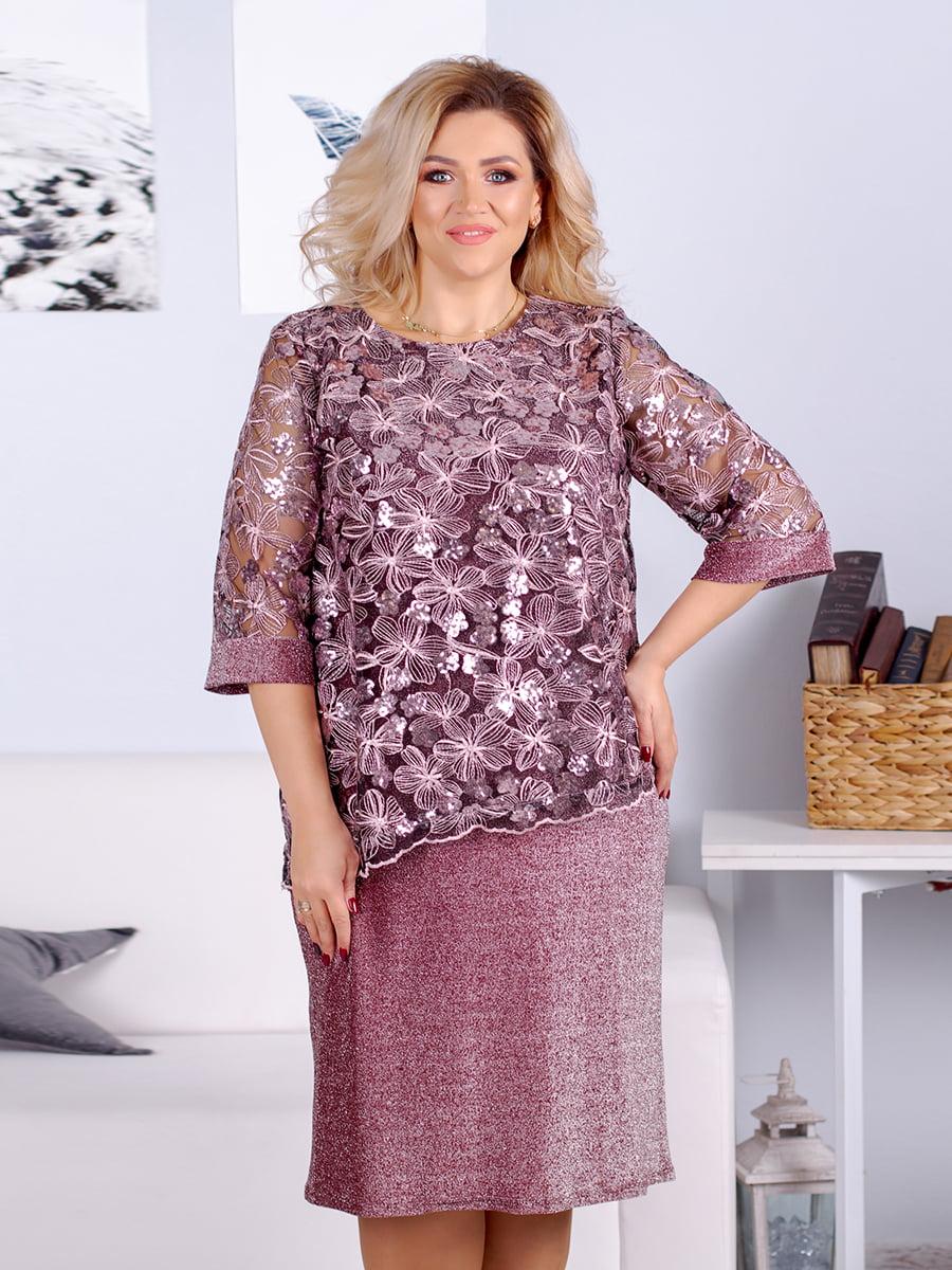 Сукня кольору фрезії з декором | 5394962