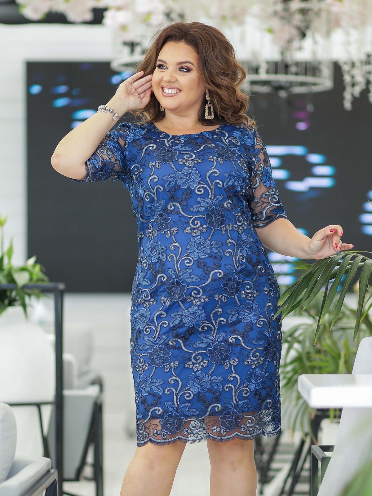 Платье цвета электрик с декором | 5401009