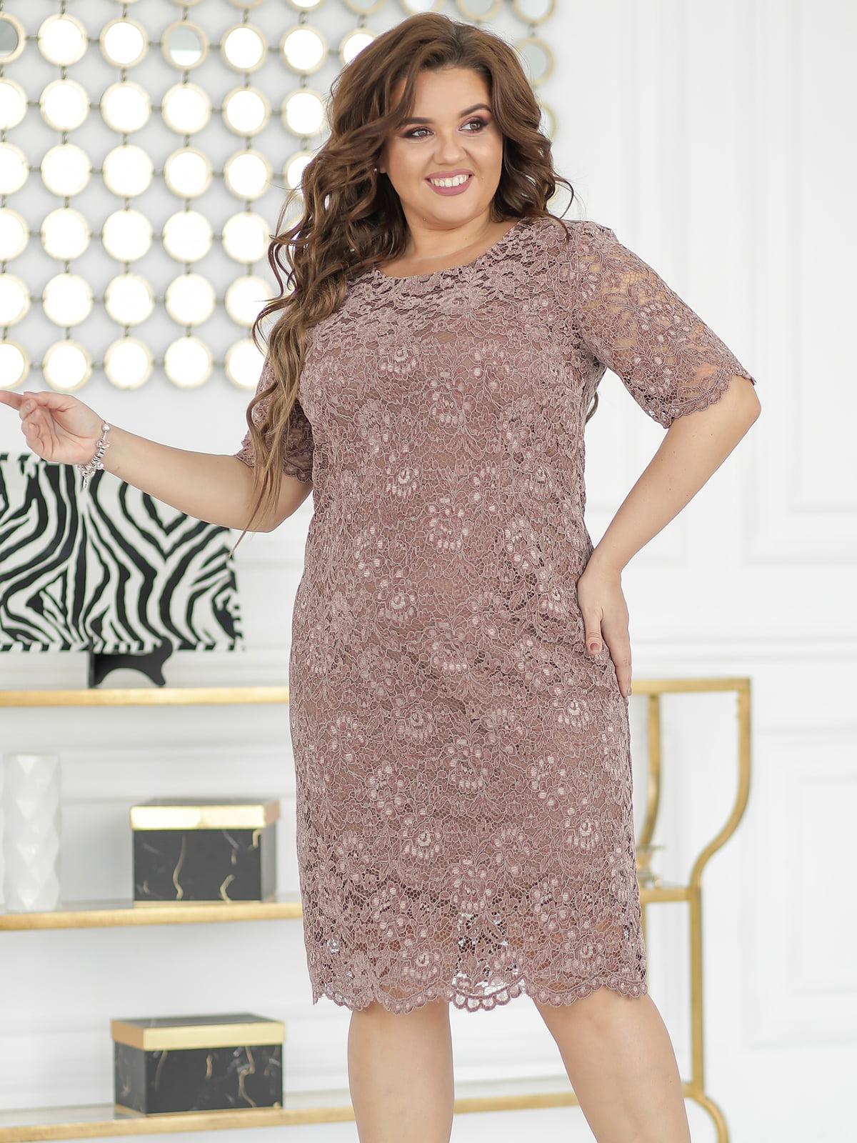 Платье цвета мокко с декором | 5401028