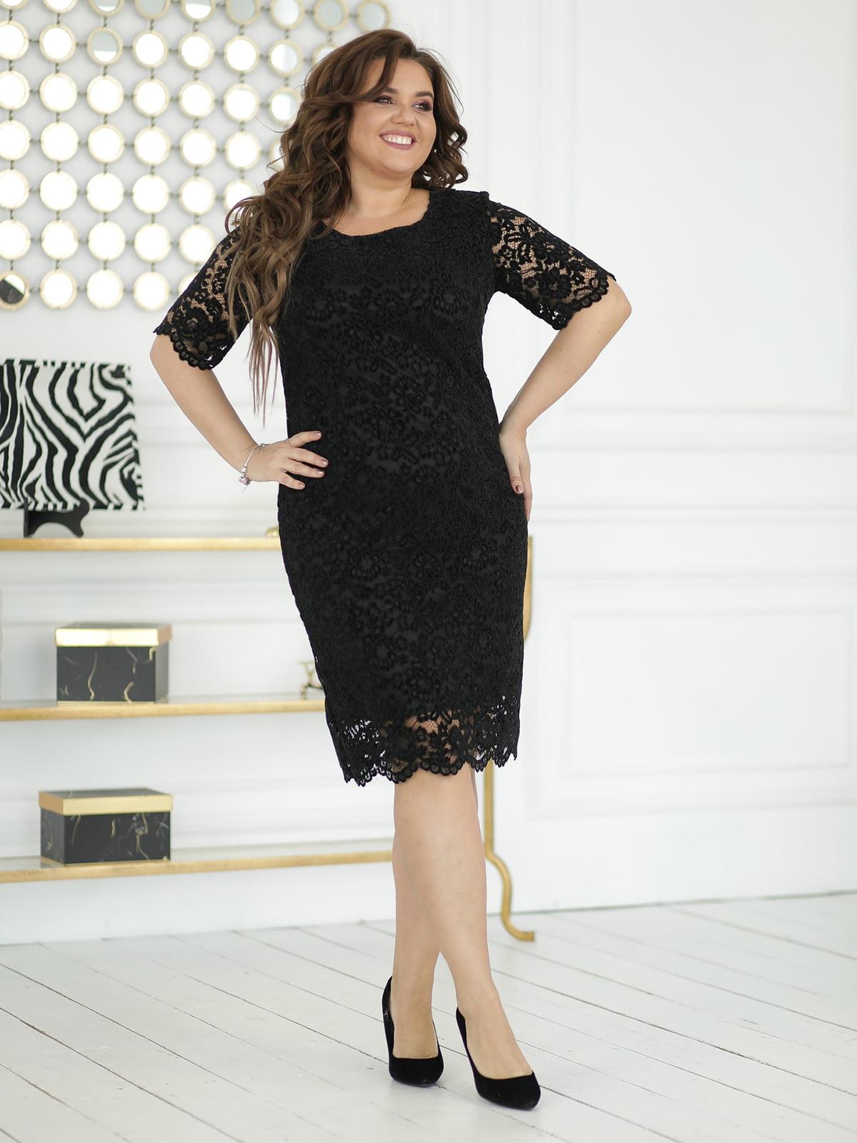 Платье черное с декором | 5401029