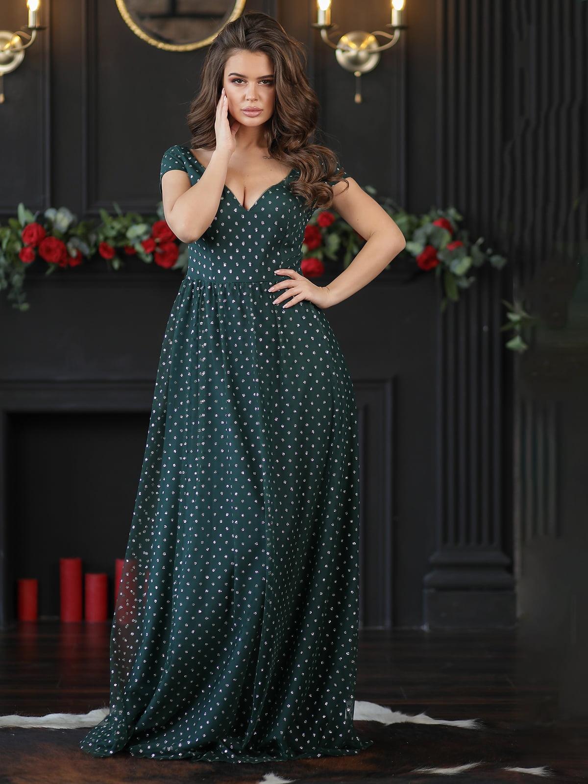 Сукня смарагдового кольору з декором | 5401072