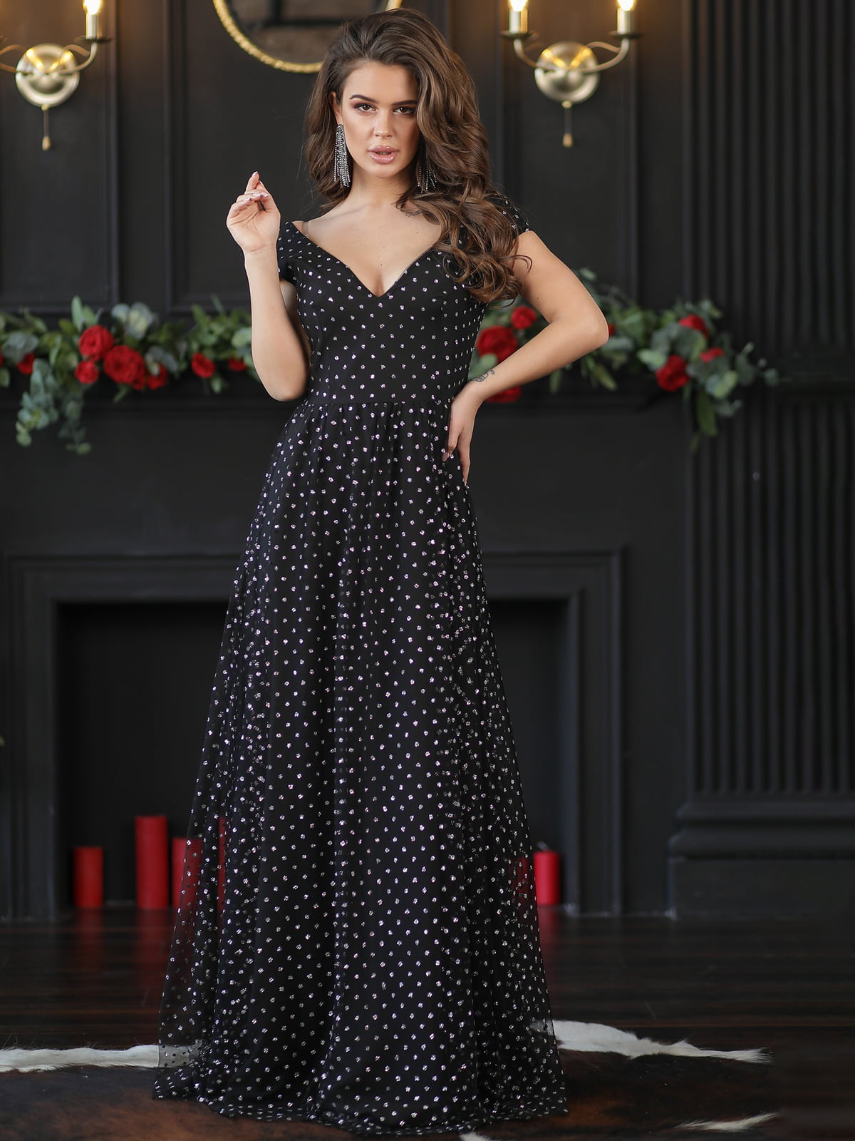Платье черное с декором | 5401073