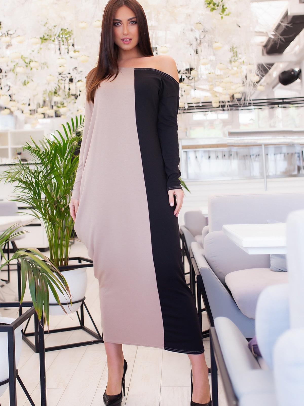 Сукня бежево-чорна | 5379675