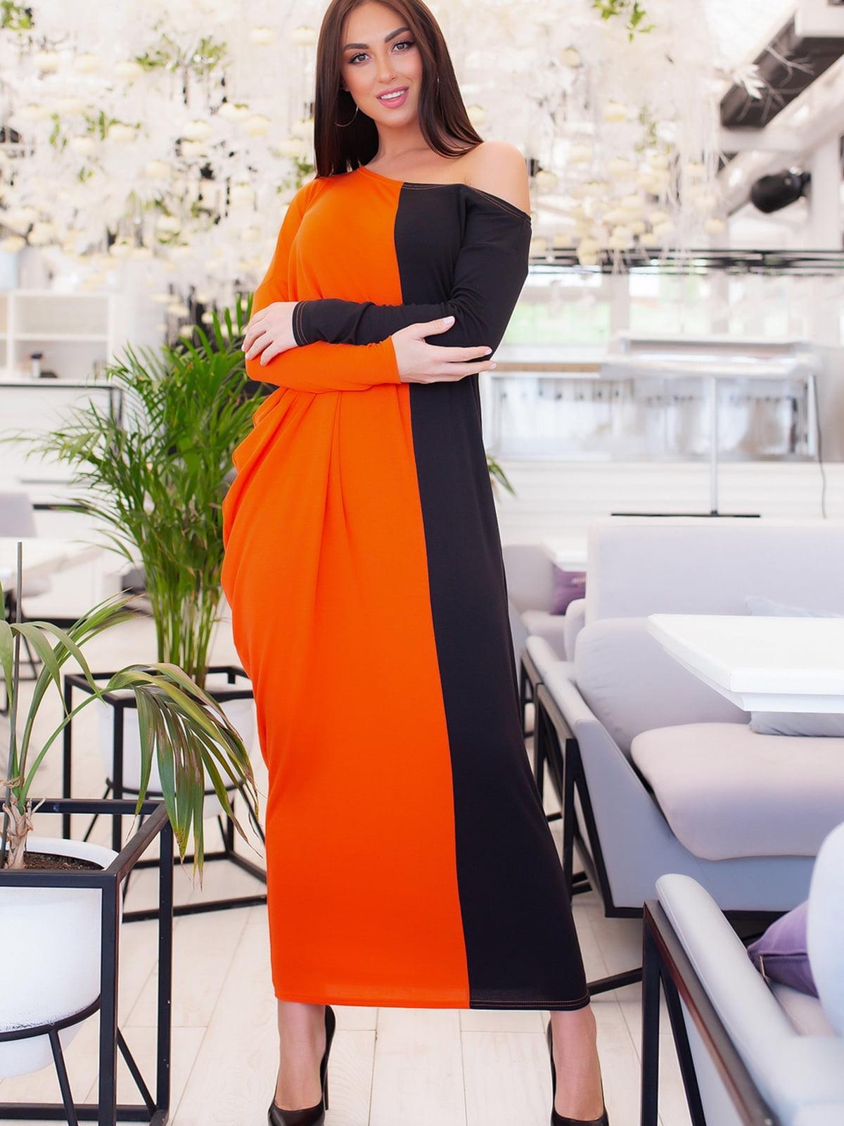 Платье черно-оранжевого цвета | 5379677
