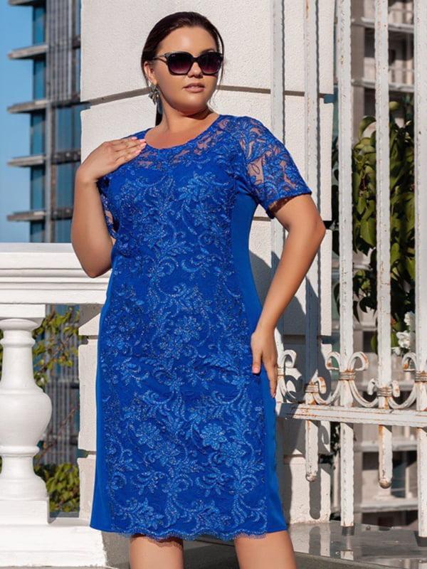 Сукня кольору електрик з декором | 5402863