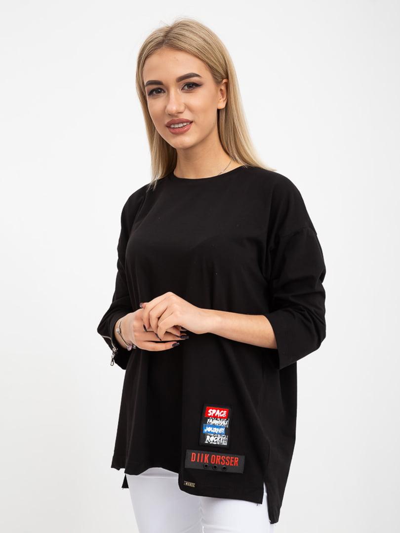 Блуза черная с декором | 5415792