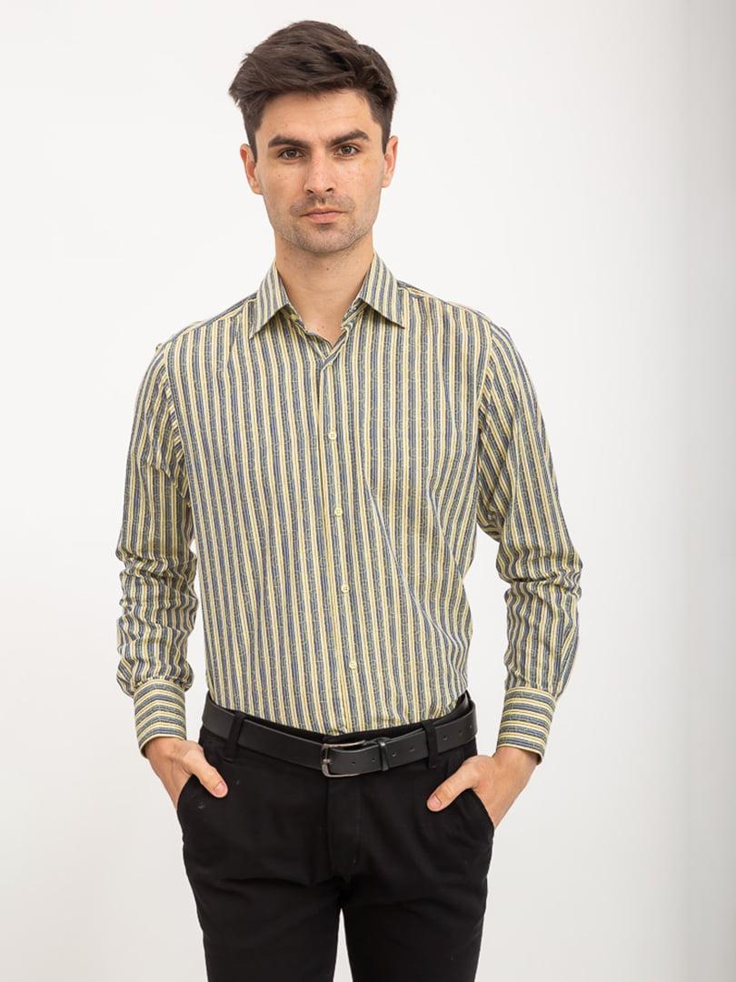 Рубашка оливкового цвета в полоску | 5416024