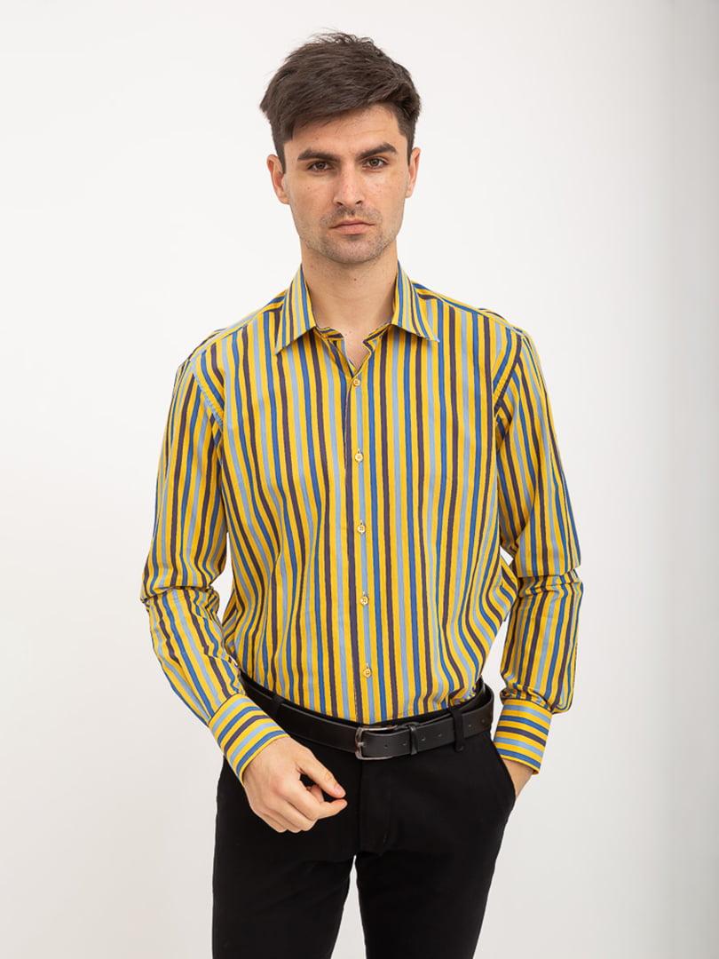 Рубашка желто-голубая в полоску   5416040