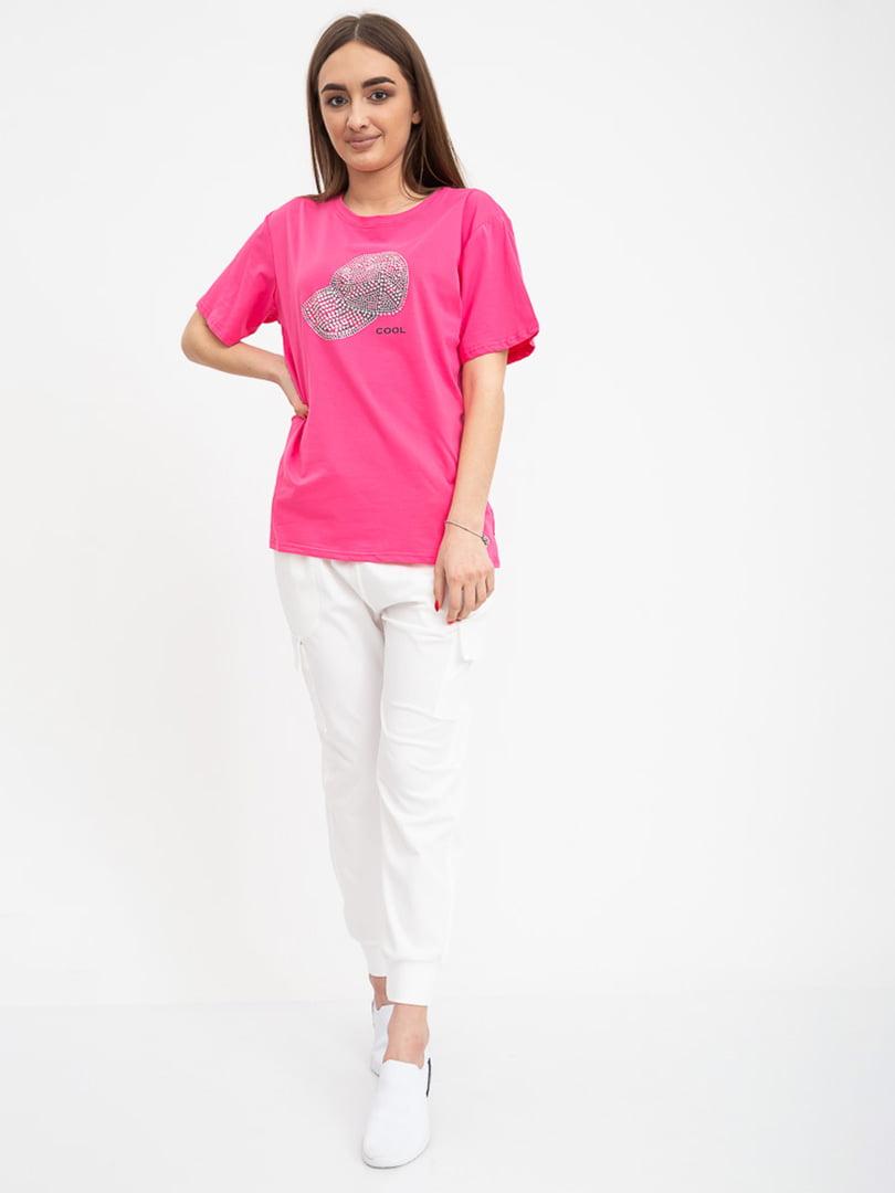 Футболка розовая с принтом | 5416348