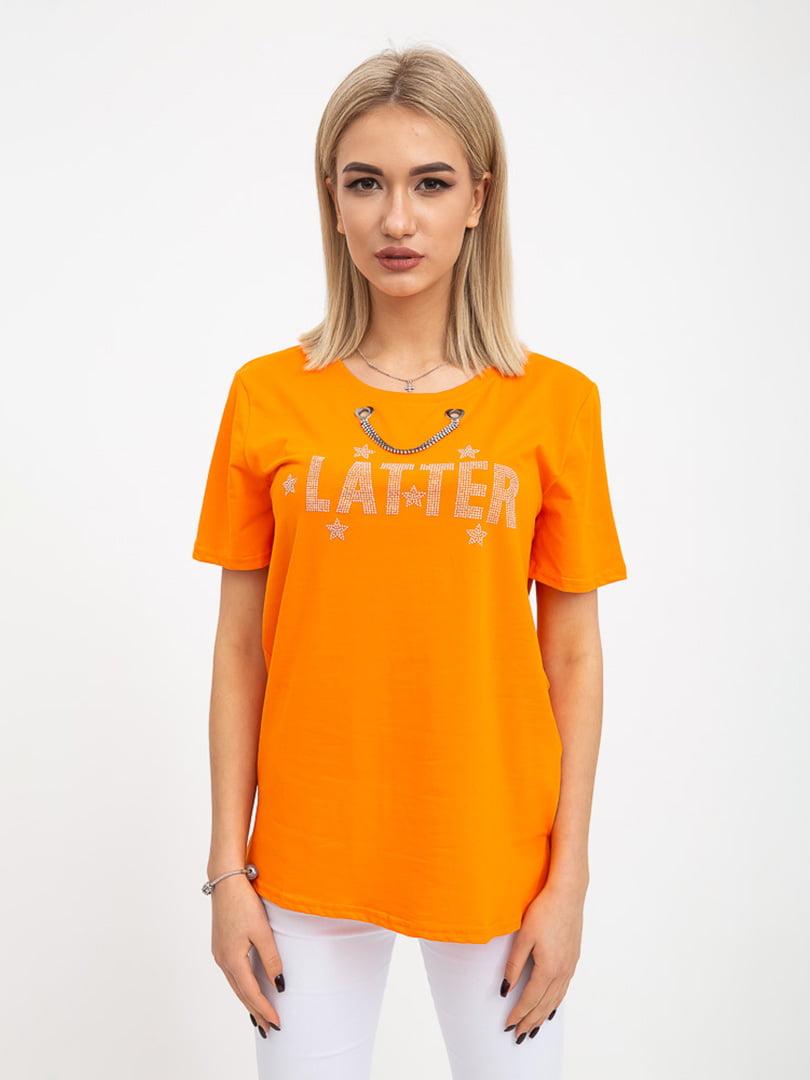 Футболка оранжевая с принтом | 5416373