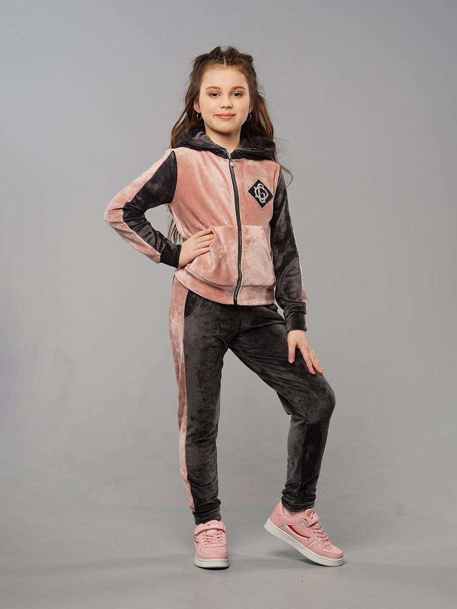 Костюм спортивний велюровий: толстовка і штани | 5417330