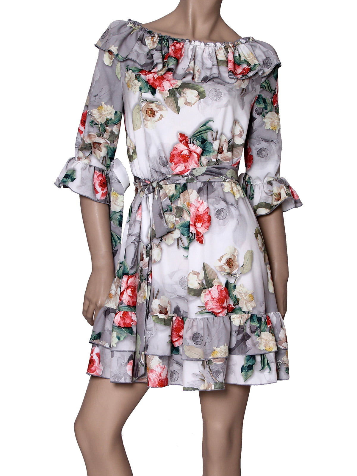 Платье серое с принтом | 5419516