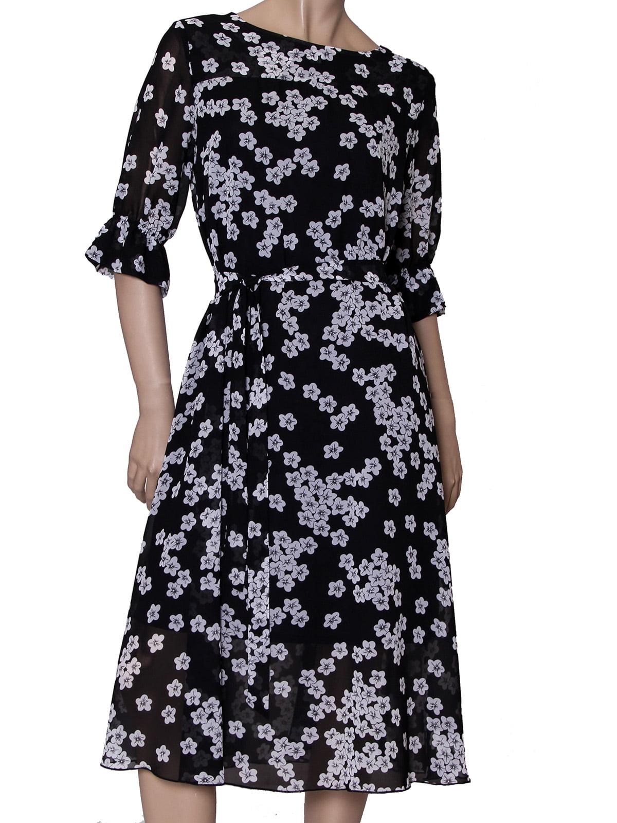 Платье черное в цветочный принт | 5423035