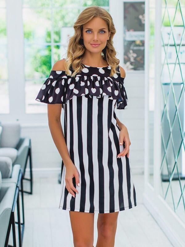 Платье черно-белое в принт | 5423599