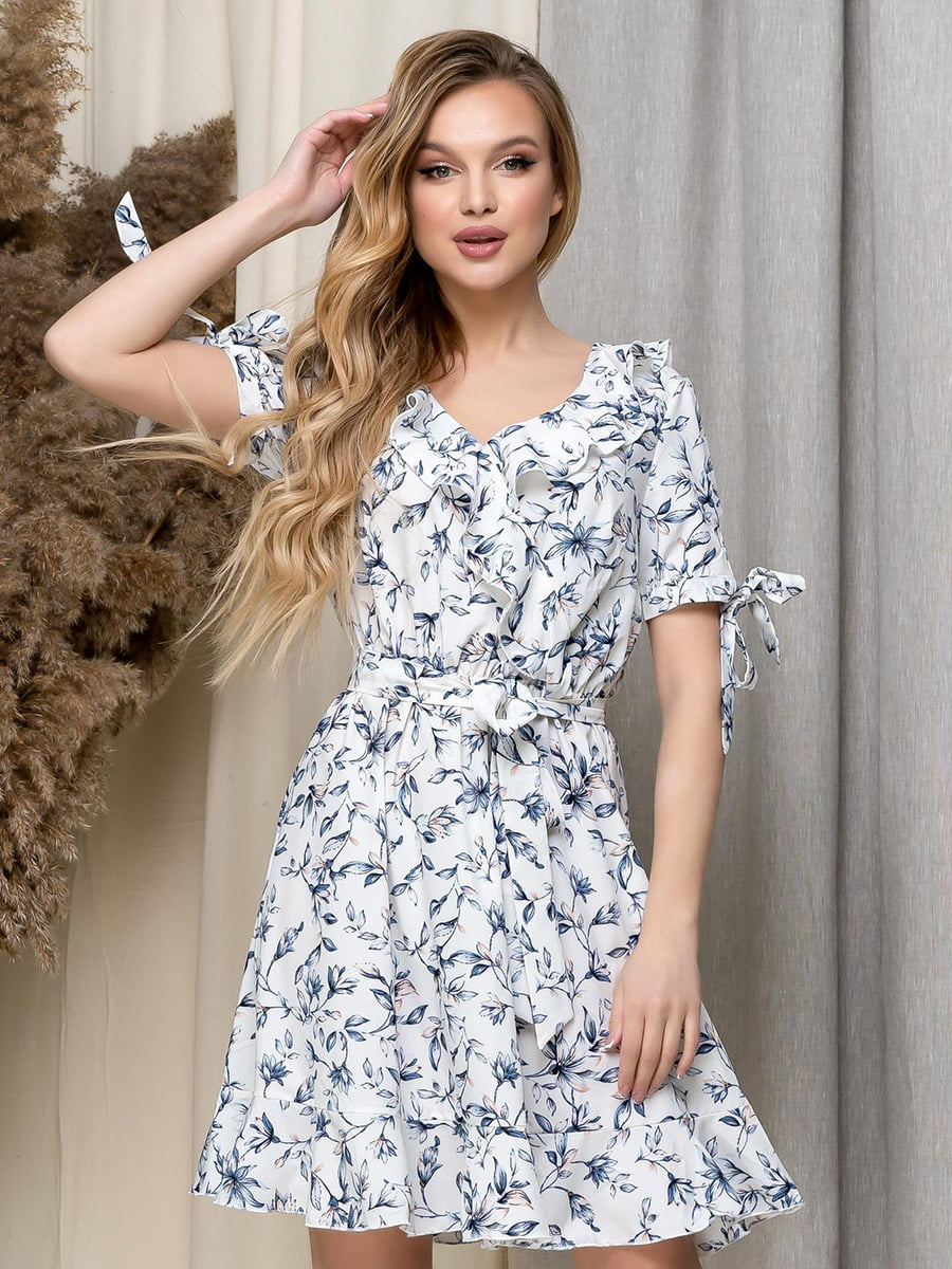 Сукня біла в квітковий принт | 5423621