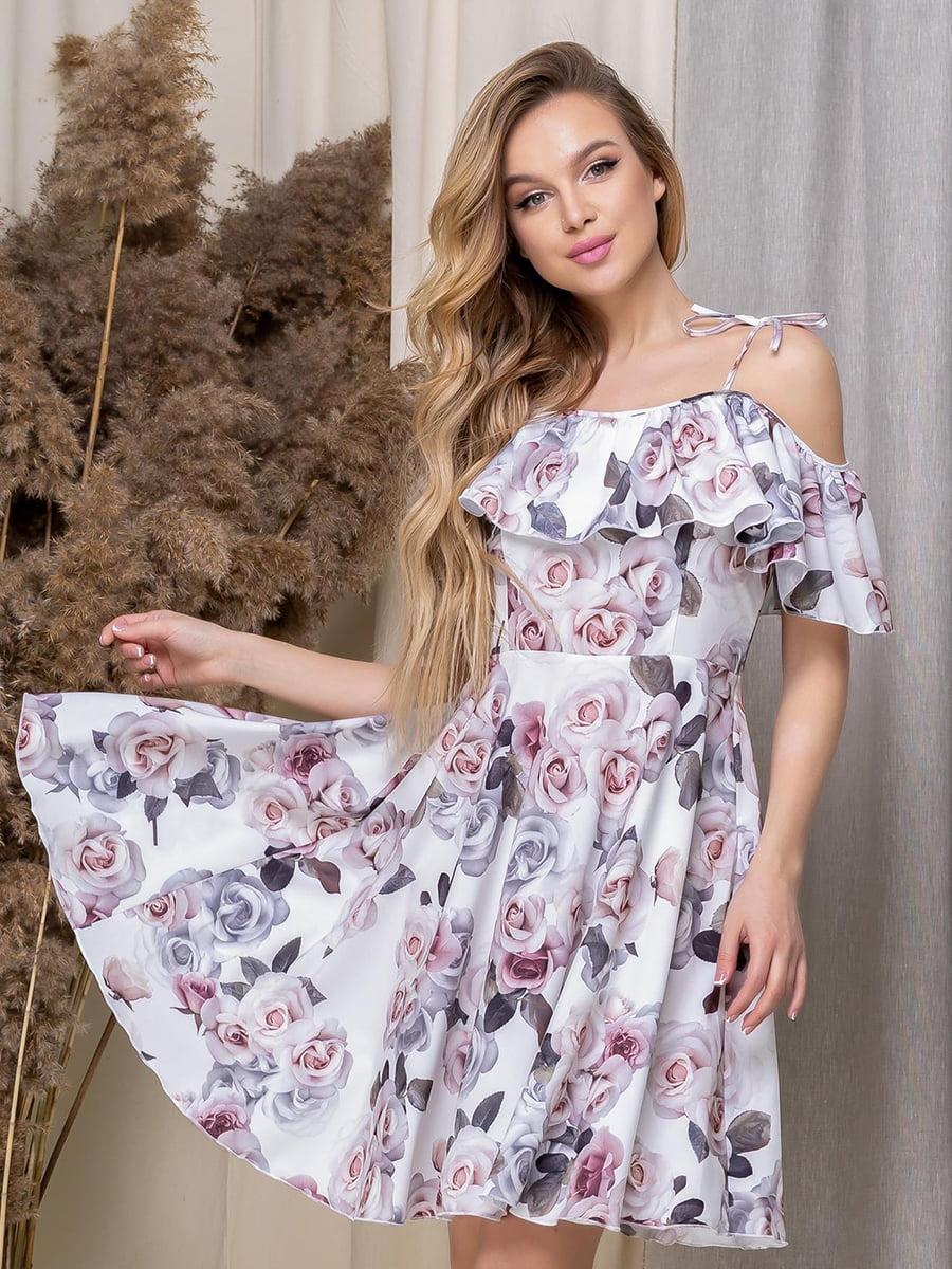 Сукня біла в квітковий принт | 5423624