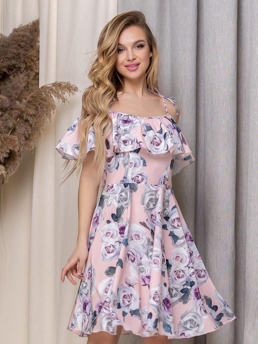 Платье пудрового цвета в цветочный принт   5423625