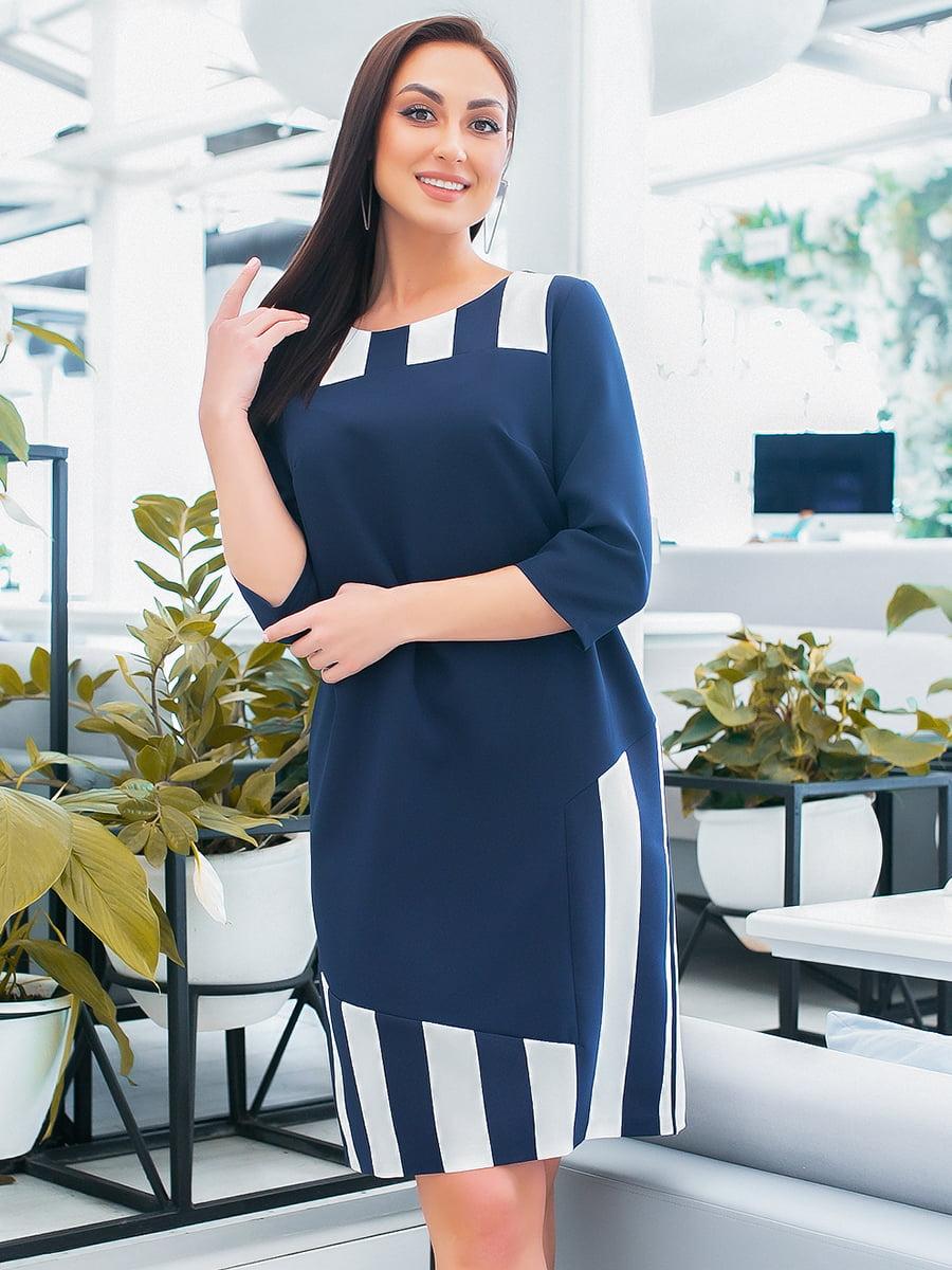 Платье синее в полоску | 5423655