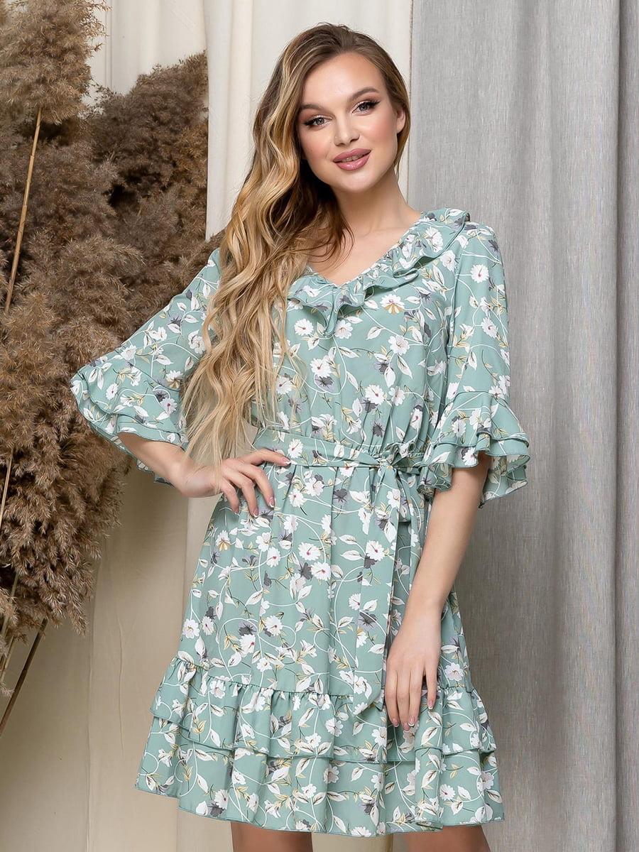 Сукня зелена в квітковий принт   5423616