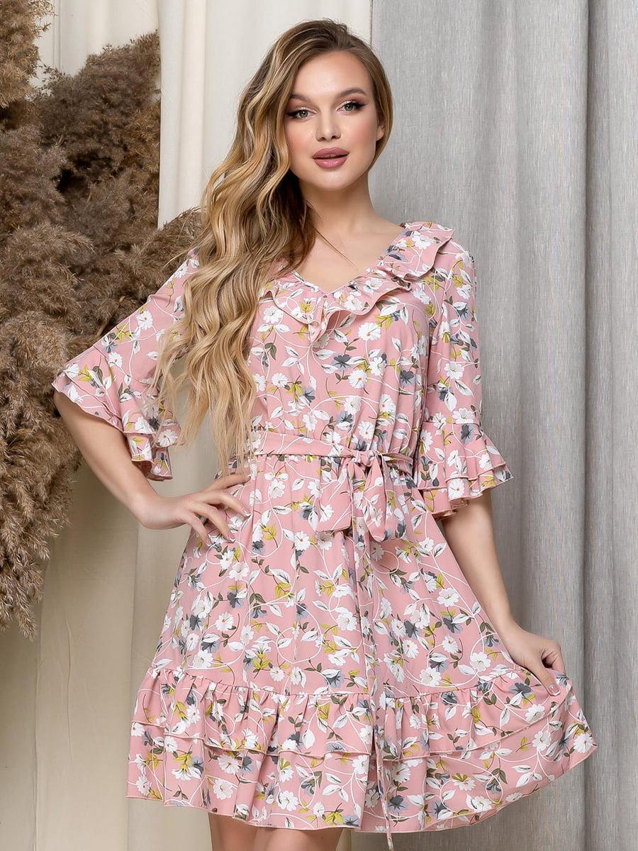 Платье пудрового цвета в цветочный принт | 5423617