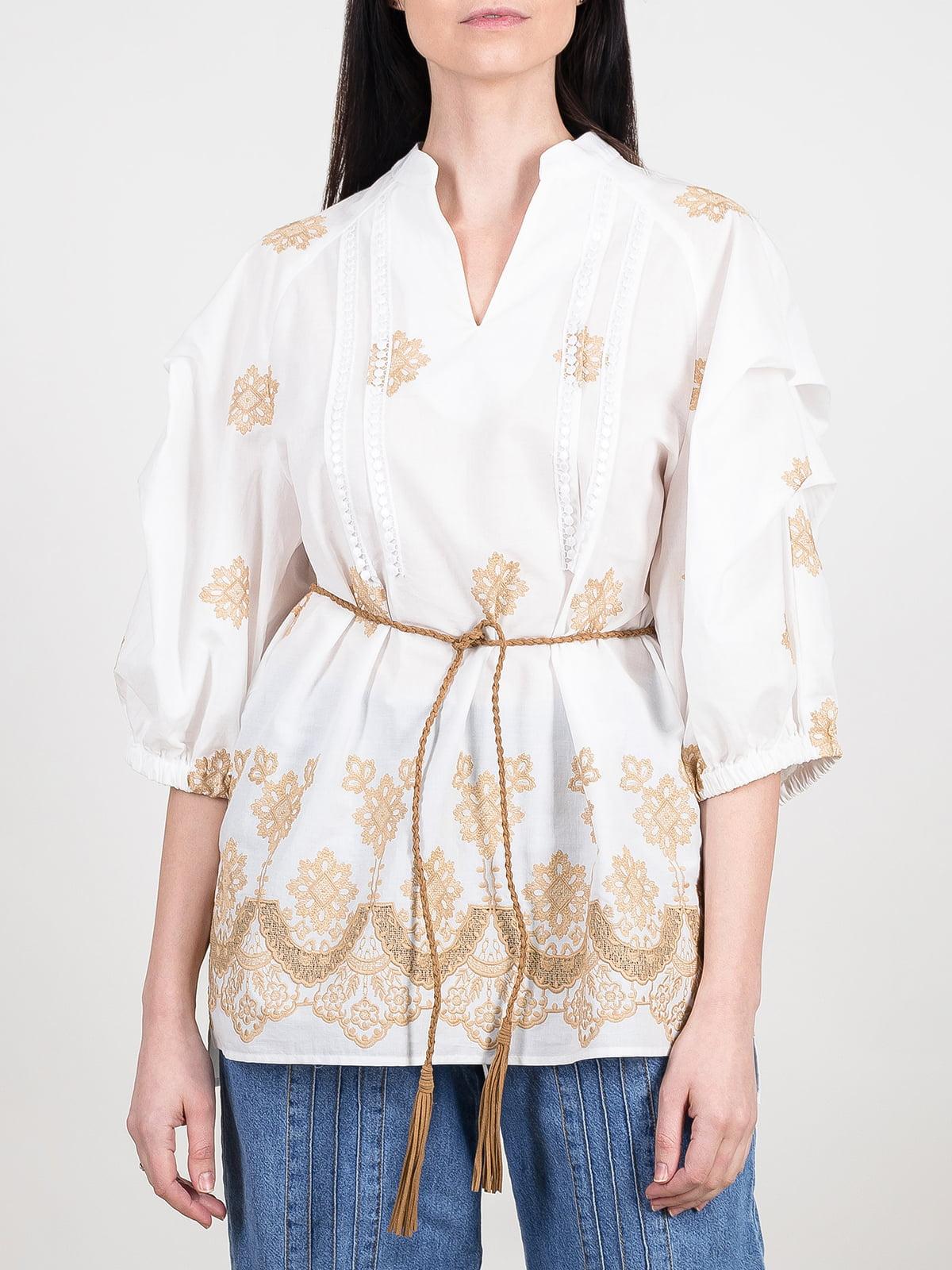 Блуза біло-бежева з орнаментом | 5416773