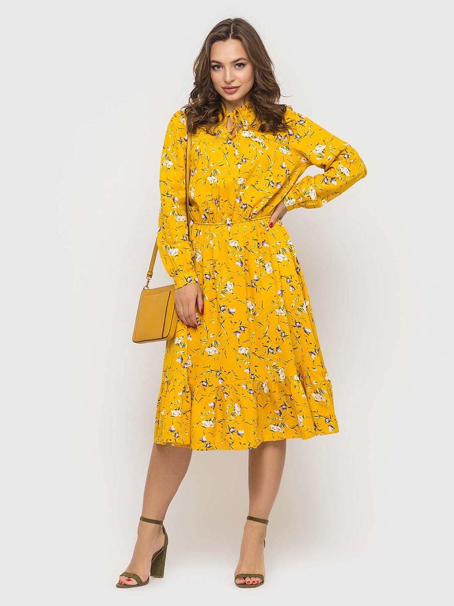 Сукня жовта в принт | 5426820