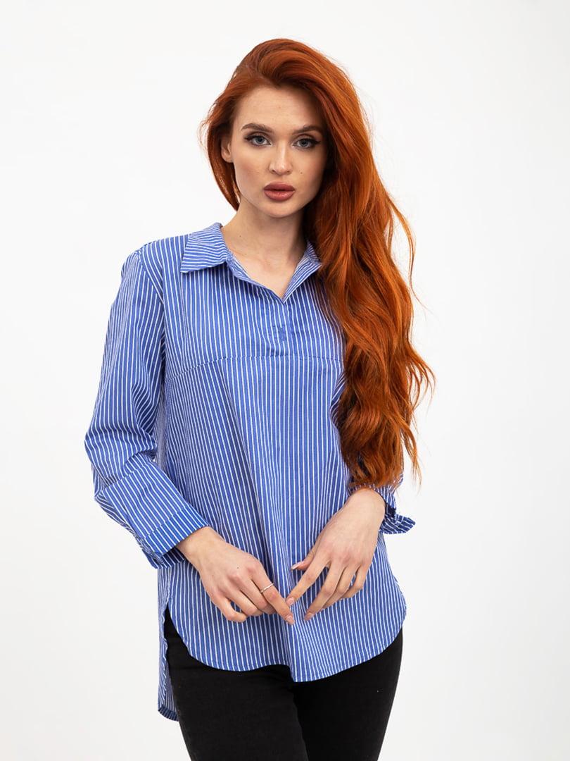 Блуза синяя в полоску | 5426840