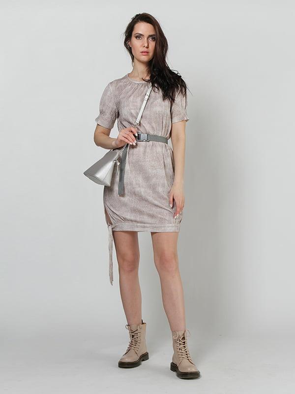 Платье бежевое с размытым принтом | 5427741
