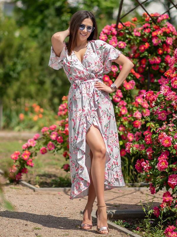 Сукня сіра в квітковий принт | 5431026
