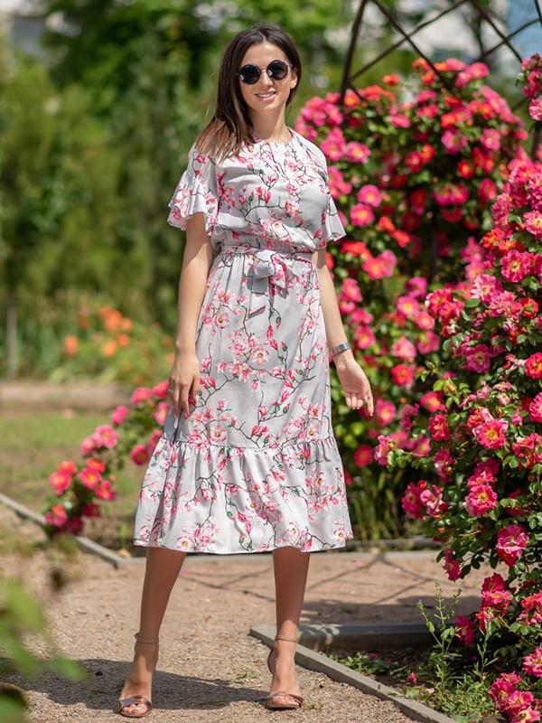 Сукня сіра в квітковий принт | 5431033