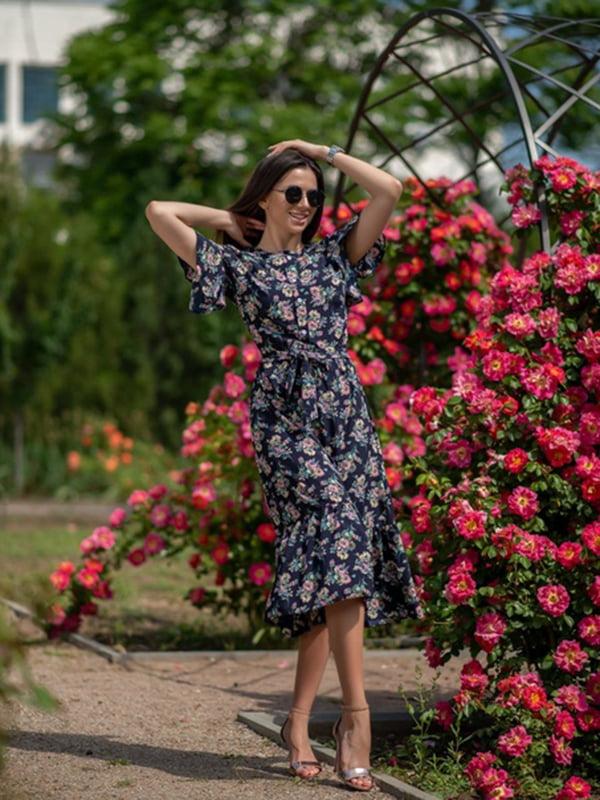 Сукня синя в квітковий принт | 5431036