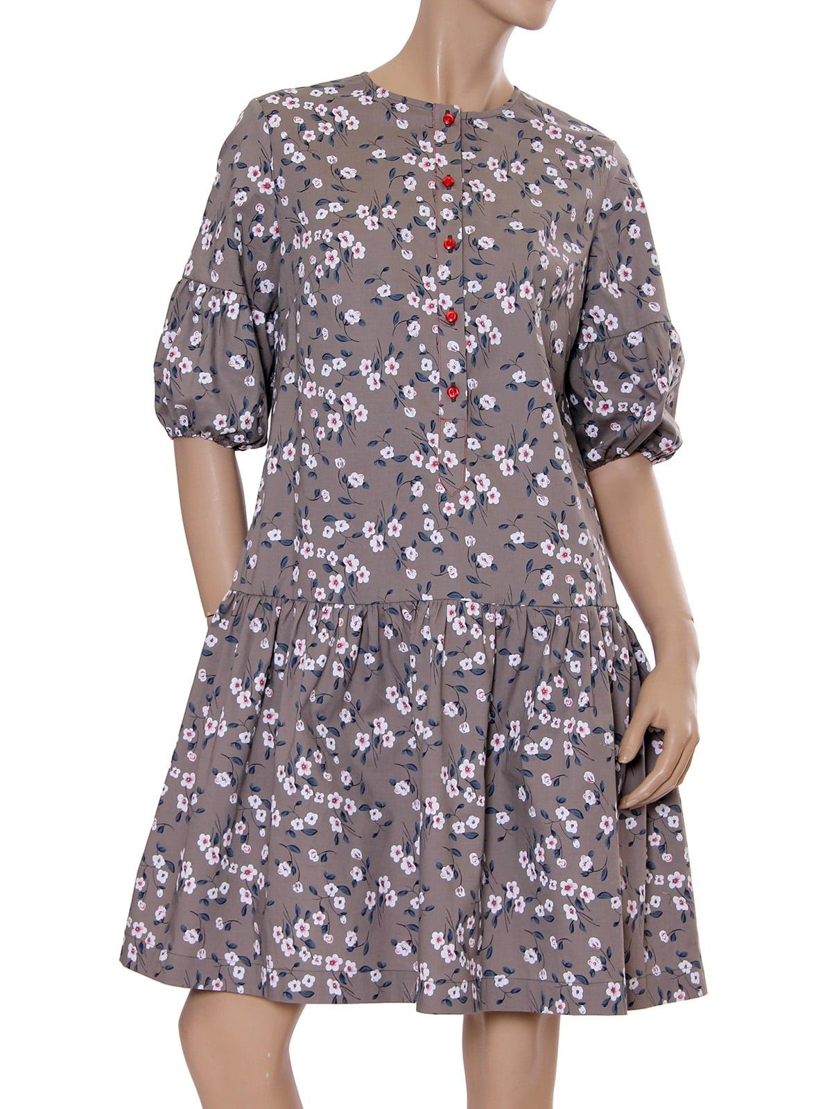 Платье цвета кофе с принтом | 5431138