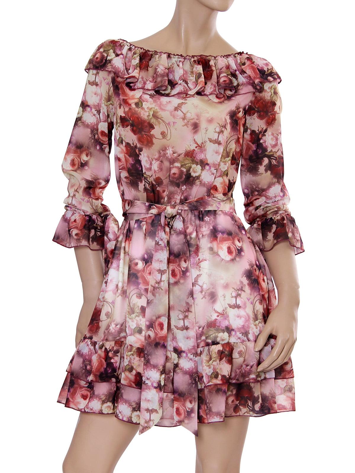 Платье цвета вишни с принтом   5431140