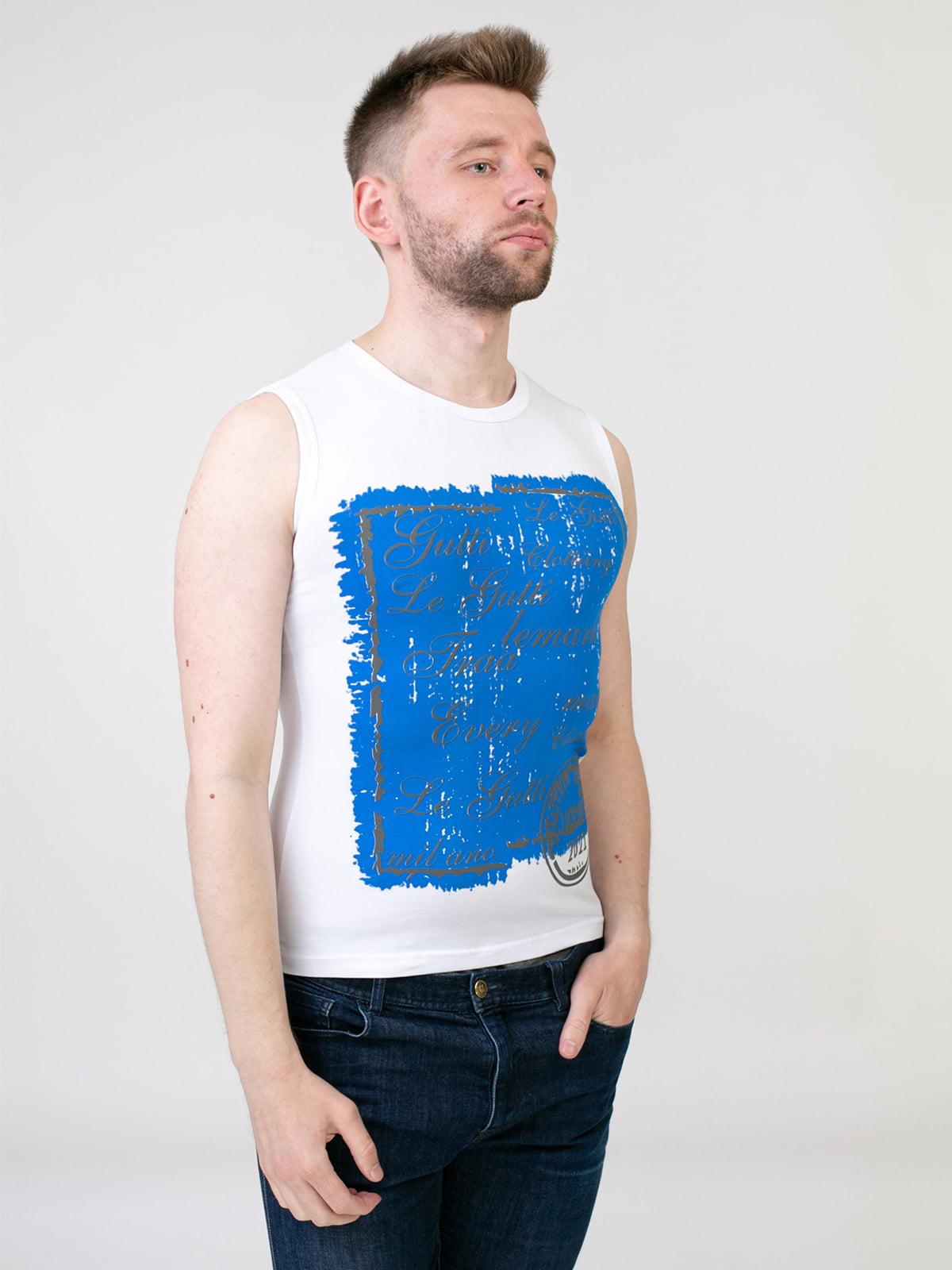 Майка біло-синя з принтом | 5441452
