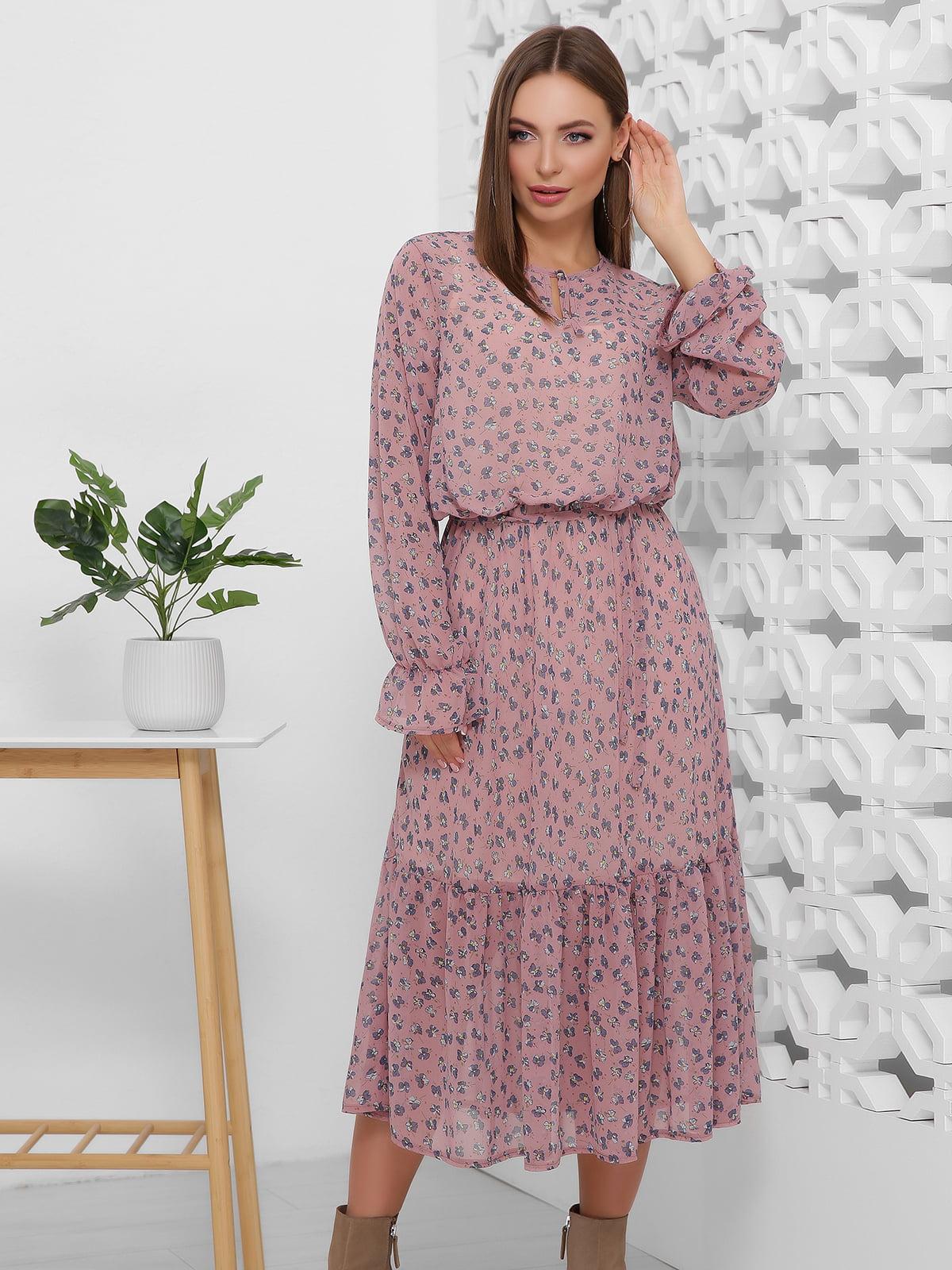 Сукня сливового кольору в принт | 5444103