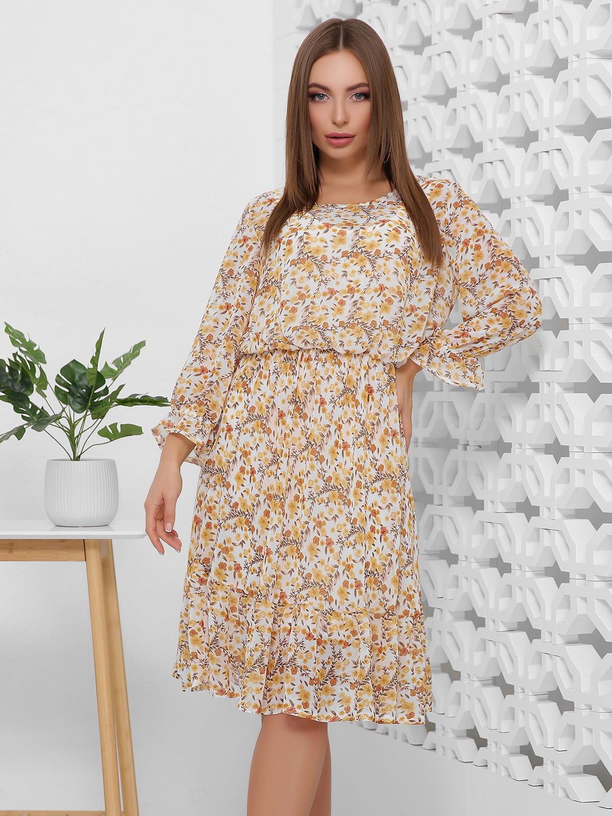 Сукня бежева в квітковий принт | 5444112