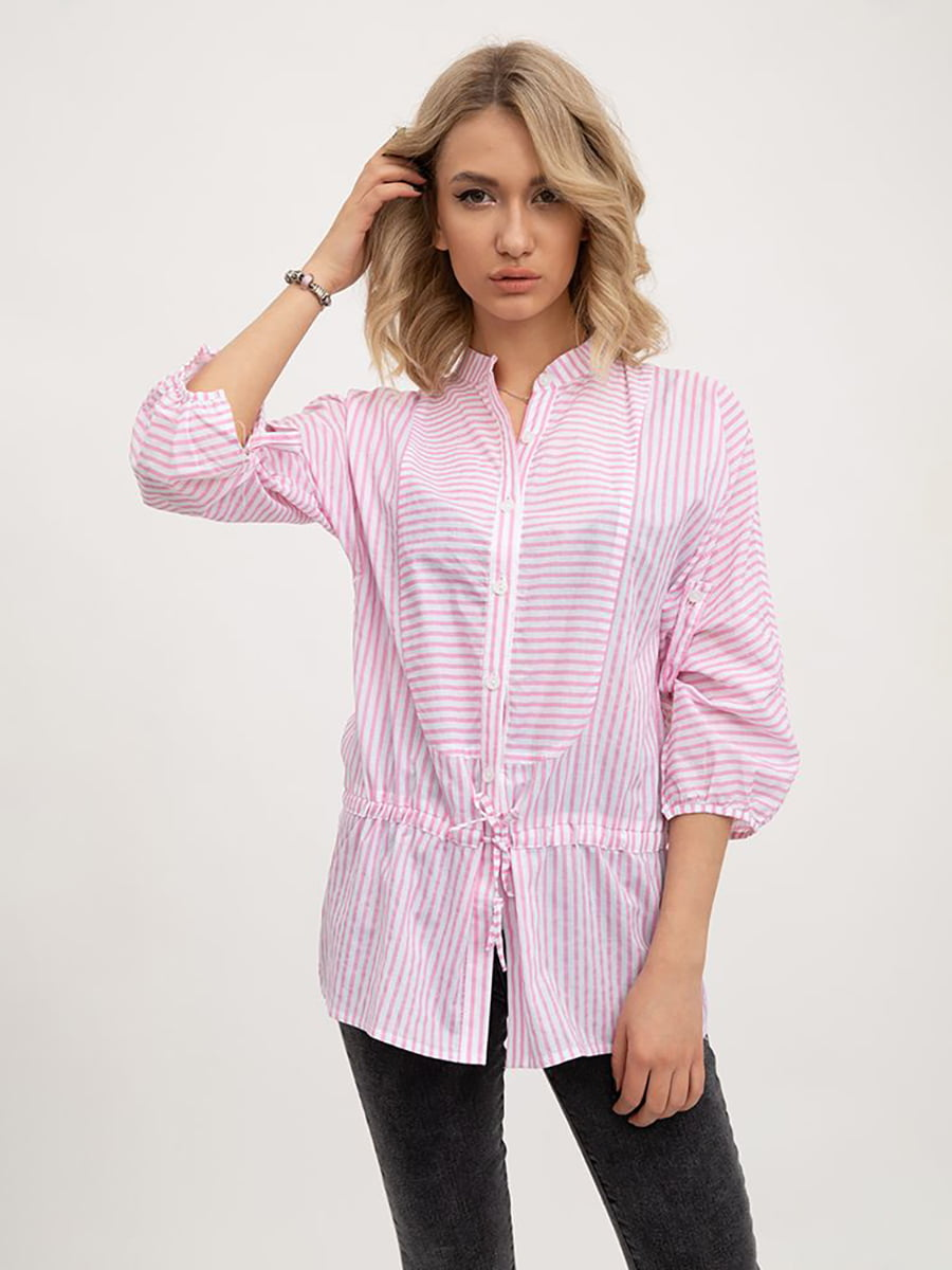 Блуза рожево-біла | 5445445