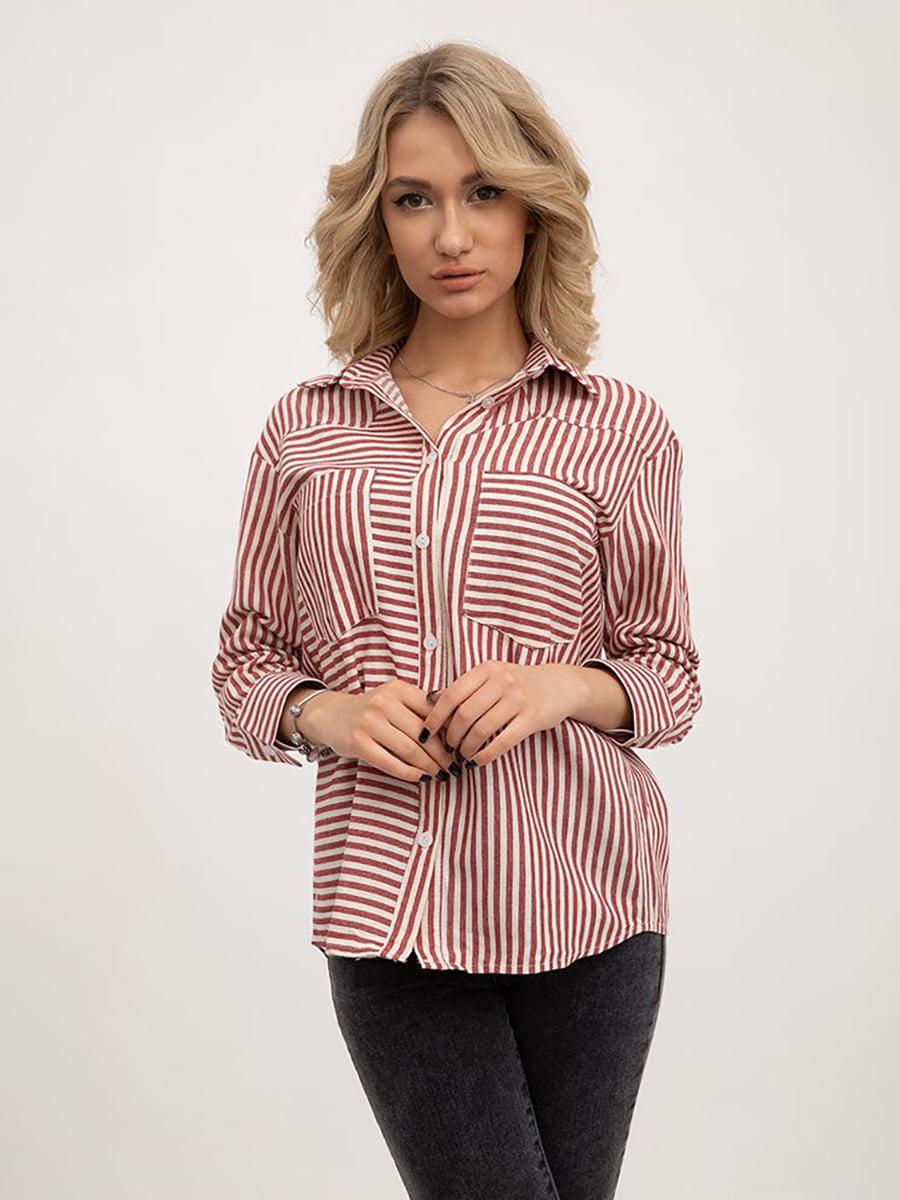 Блуза красно-серая в полоску | 5445446