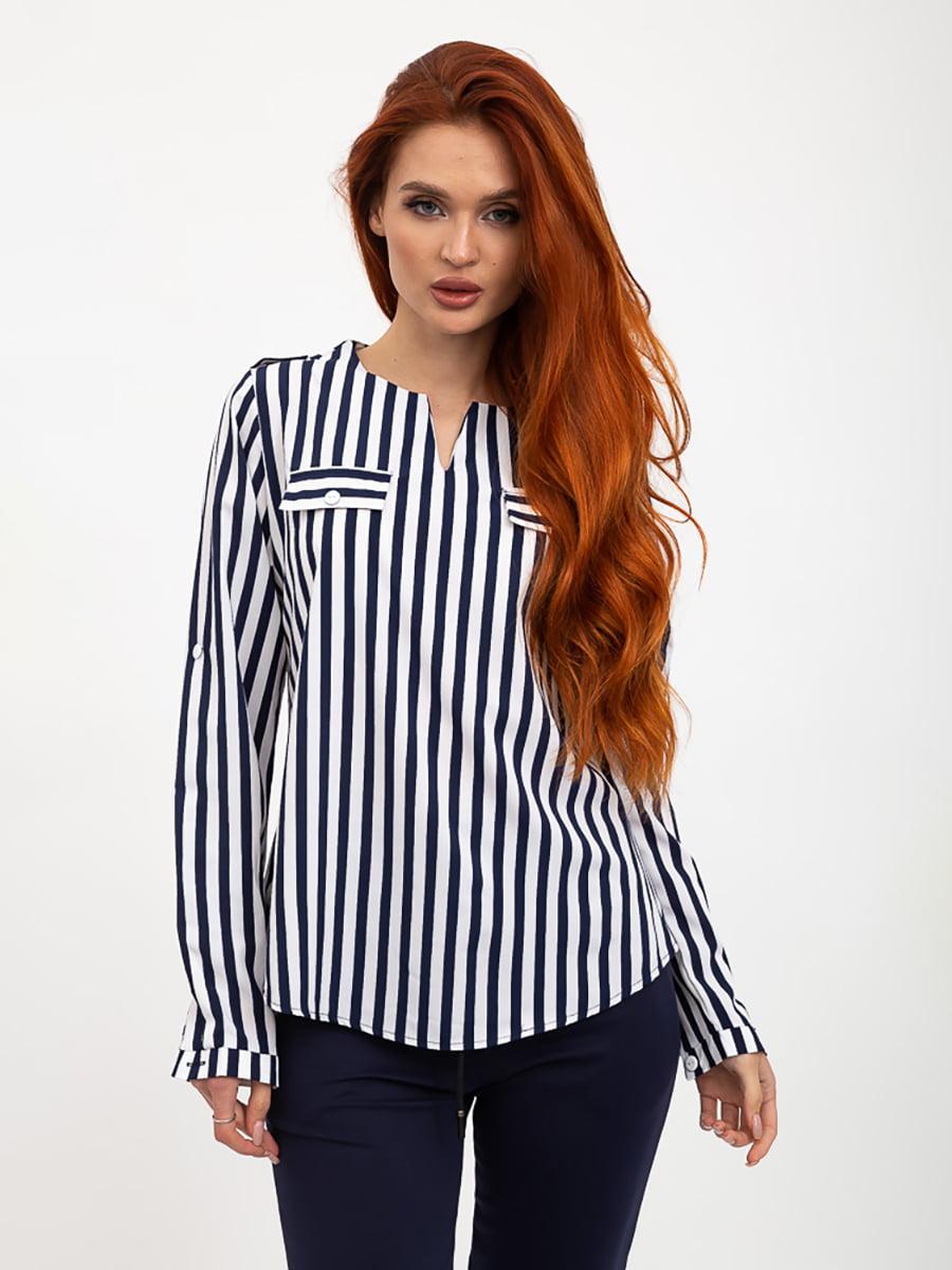 Блуза синьо-біла в смужку | 5445456