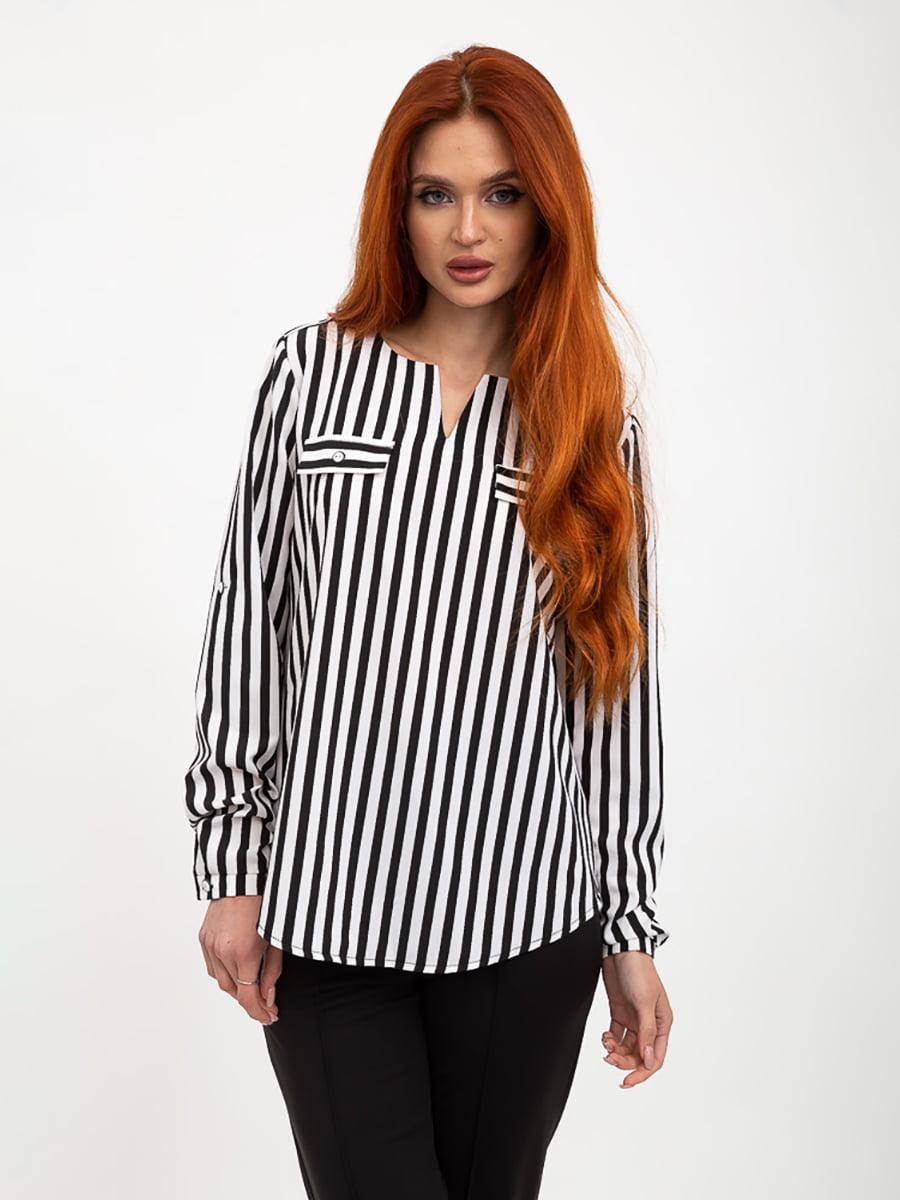 Блуза черно-белая в полоску | 5445457