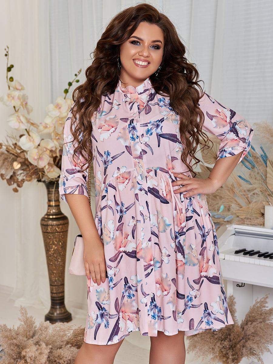 Платье цвета пудры в цветочный принт   5447033