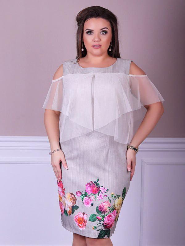 Платье бежевое с принтом | 5447036